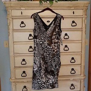 Alfani dress animal print with sude ruching v neck